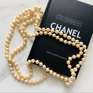 """Jewelry - Faux pearl necklace champagne color 58"""""""